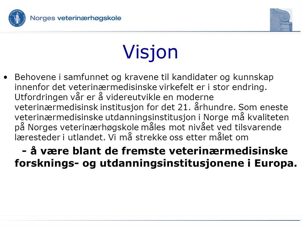 Visjon Behovene i samfunnet og kravene til kandidater og kunnskap innenfor det veterinærmedisinske virkefelt er i stor endring. Utfordringen vår er å