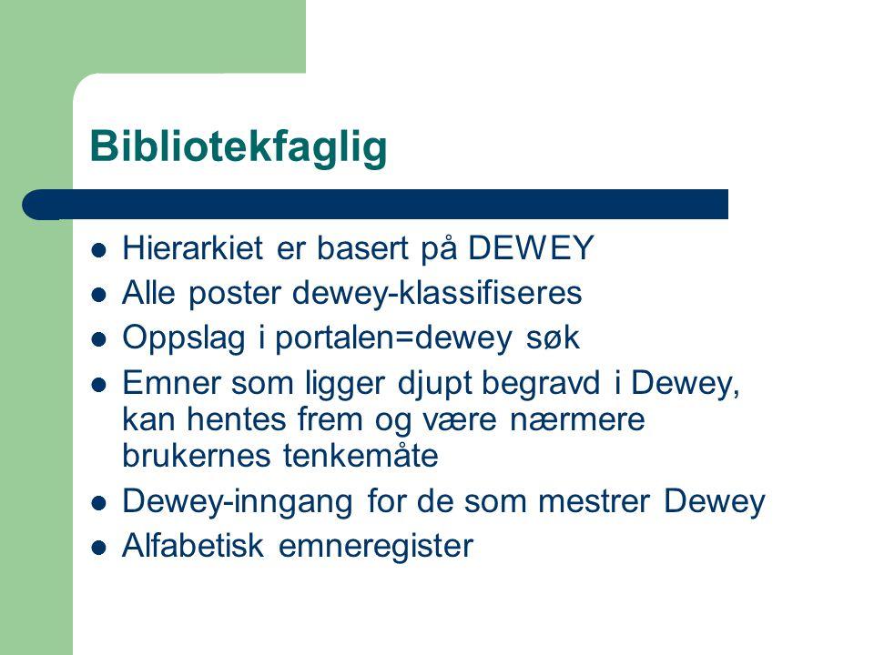 Bibliotekfaglig Hierarkiet er basert på DEWEY Alle poster dewey-klassifiseres Oppslag i portalen=dewey søk Emner som ligger djupt begravd i Dewey, kan hentes frem og være nærmere brukernes tenkemåte Dewey-inngang for de som mestrer Dewey Alfabetisk emneregister