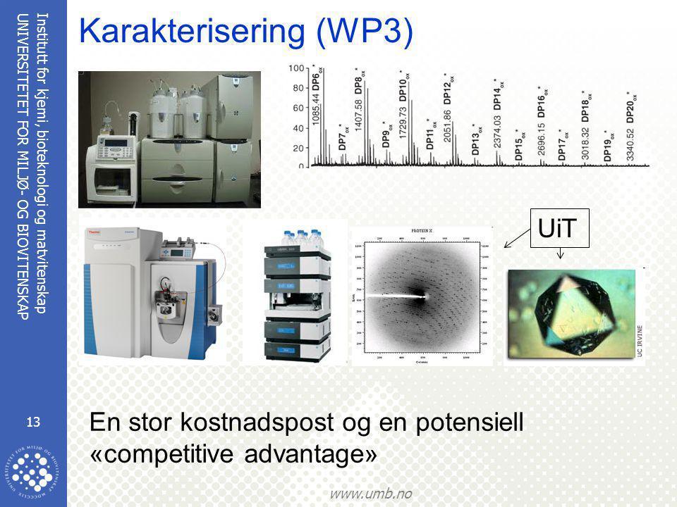 Institutt for kjemi, bioteknologi og matvitenskap 13 UNIVERSITETET FOR MILJØ- OG BIOVITENSKAP www.umb.no Karakterisering (WP3) En stor kostnadspost og