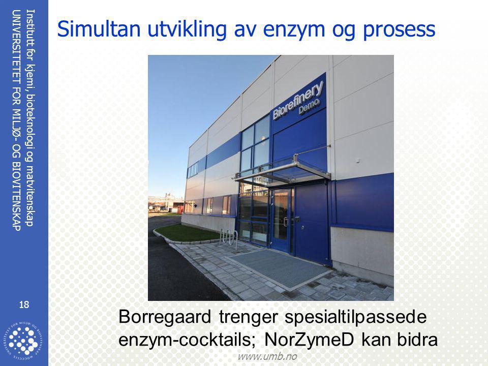 Institutt for kjemi, bioteknologi og matvitenskap 18 UNIVERSITETET FOR MILJØ- OG BIOVITENSKAP www.umb.no Simultan utvikling av enzym og prosess Borregaard trenger spesialtilpassede enzym-cocktails; NorZymeD kan bidra