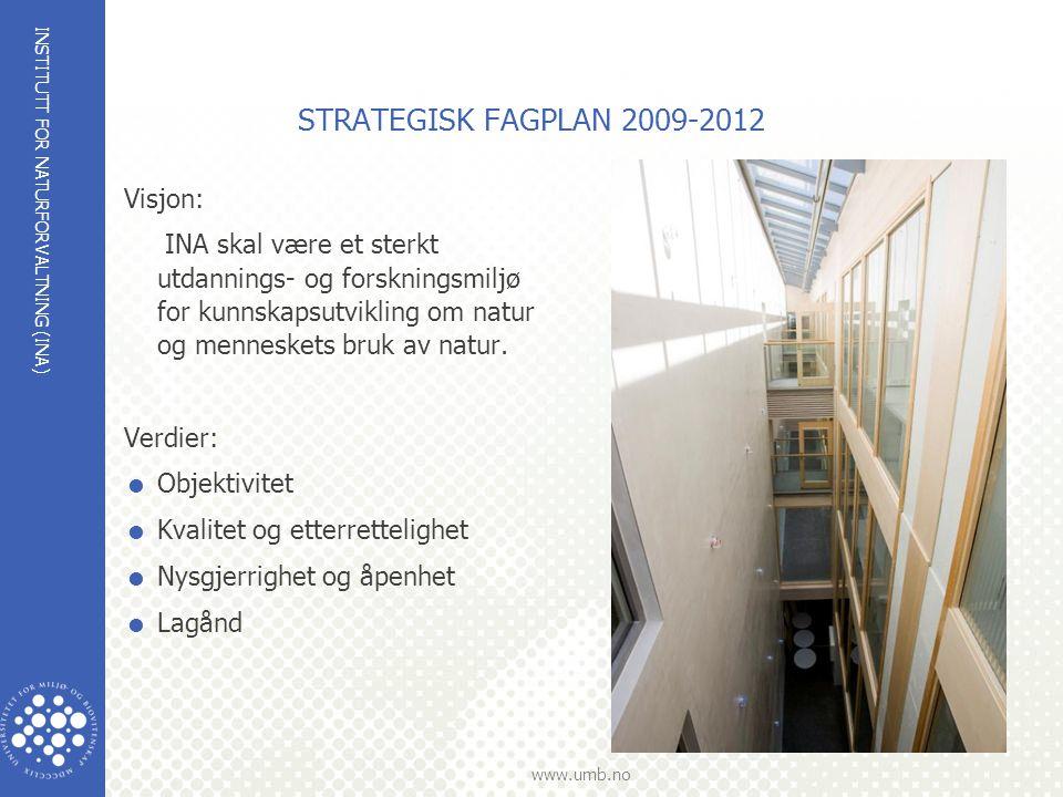 INSTITUTT FOR NATURFORVALTNING (INA) www.umb.no STRATEGISK FAGPLAN 2009-2012 Visjon: INA skal være et sterkt utdannings- og forskningsmiljø for kunnskapsutvikling om natur og menneskets bruk av natur.