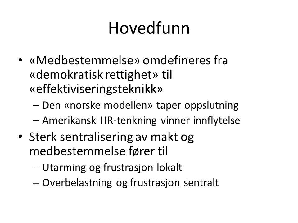 Hovedfunn «Medbestemmelse» omdefineres fra «demokratisk rettighet» til «effektiviseringsteknikk» – Den «norske modellen» taper oppslutning – Amerikans