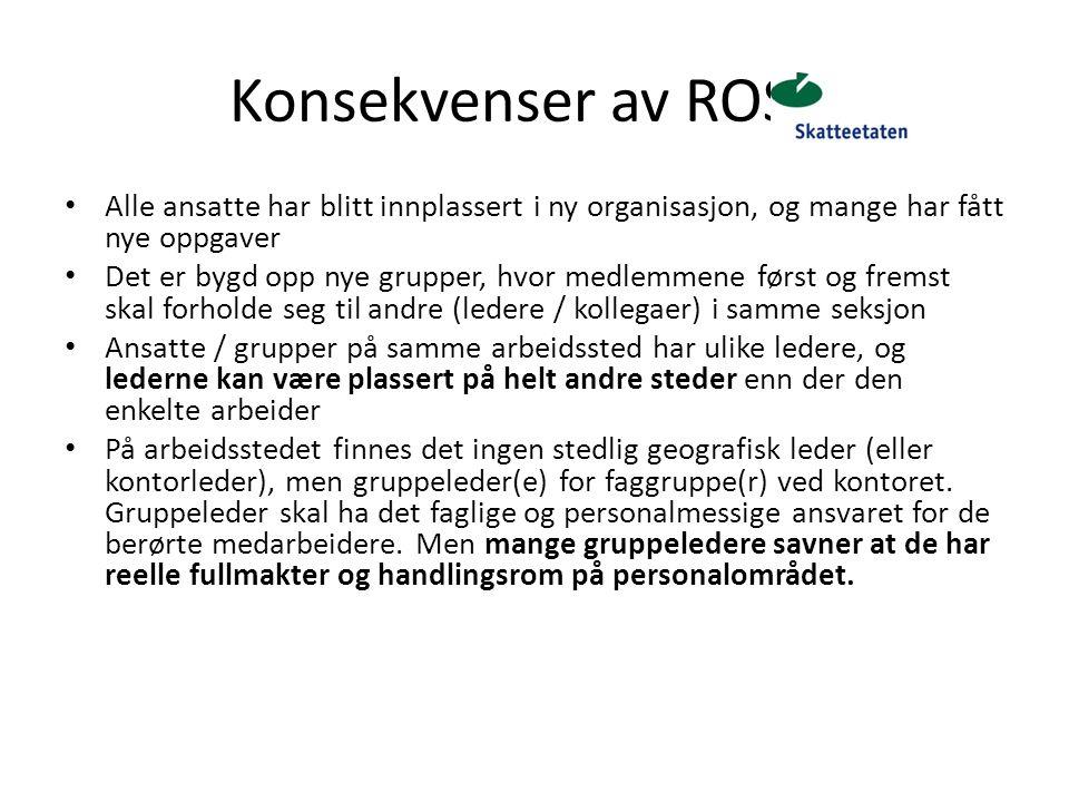 Konsekvenser av ROS 2 Alle ansatte har blitt innplassert i ny organisasjon, og mange har fått nye oppgaver Det er bygd opp nye grupper, hvor medlemmen