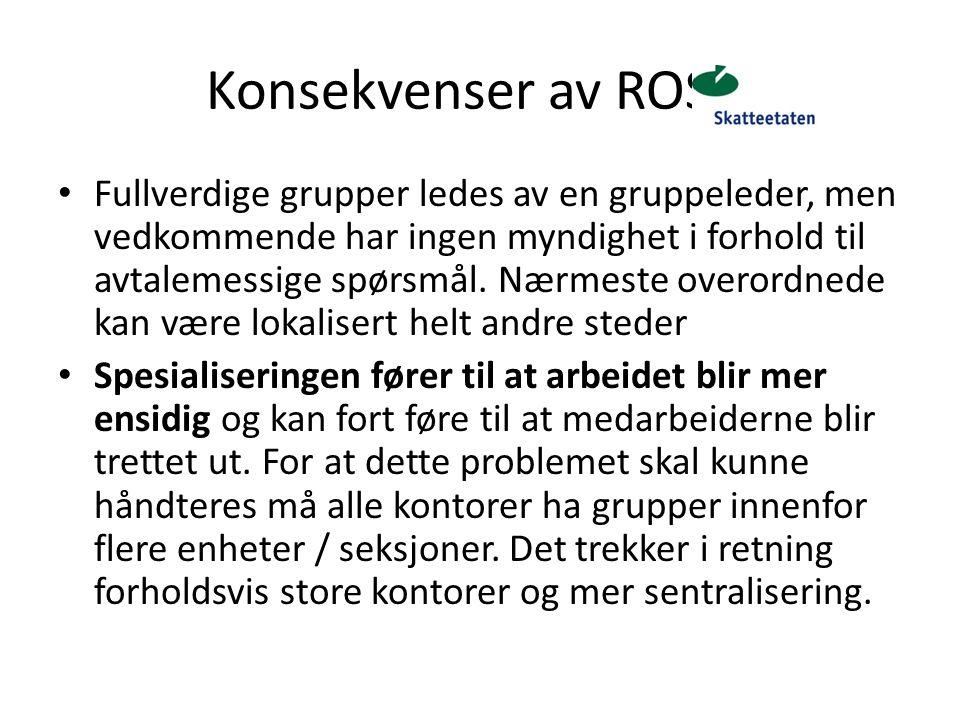 Konsekvenser av ROS 4 Fullverdige grupper ledes av en gruppeleder, men vedkommende har ingen myndighet i forhold til avtalemessige spørsmål. Nærmeste