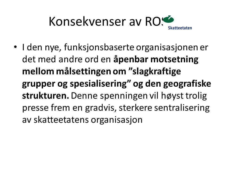 """Konsekvenser av ROS 5 I den nye, funksjonsbaserte organisasjonen er det med andre ord en åpenbar motsetning mellom målsettingen om """"slagkraftige grupp"""