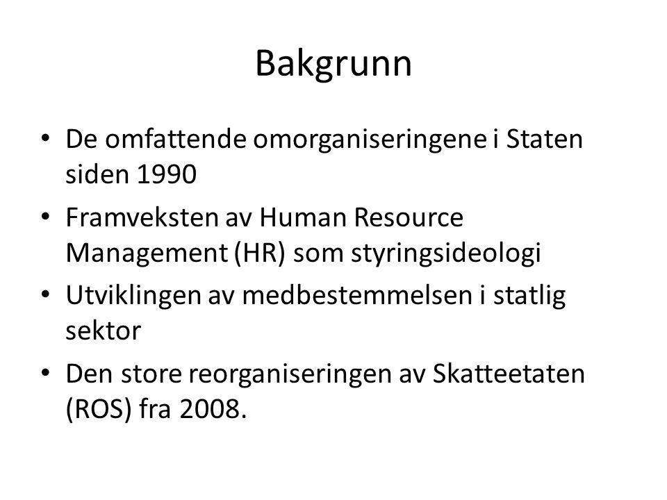 Bakgrunn De omfattende omorganiseringene i Staten siden 1990 Framveksten av Human Resource Management (HR) som styringsideologi Utviklingen av medbest