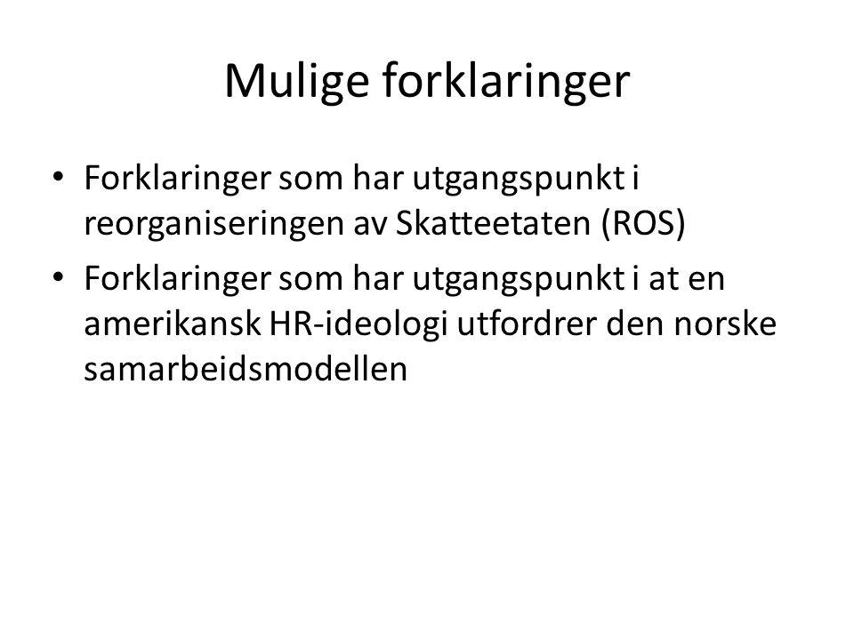 Mulige forklaringer Forklaringer som har utgangspunkt i reorganiseringen av Skatteetaten (ROS) Forklaringer som har utgangspunkt i at en amerikansk HR