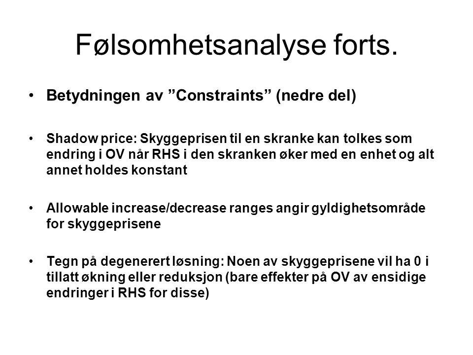 """Følsomhetsanalyse forts. Betydningen av """"Constraints"""" (nedre del) Shadow price: Skyggeprisen til en skranke kan tolkes som endring i OV når RHS i den"""
