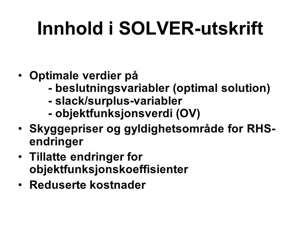 Innhold i SOLVER-utskrift Optimale verdier på - beslutningsvariabler (optimal solution) - slack/surplus-variabler - objektfunksjonsverdi (OV) Skyggepriser og gyldighetsområde for RHS- endringer Tillatte endringer for objektfunksjonskoeffisienter Reduserte kostnader