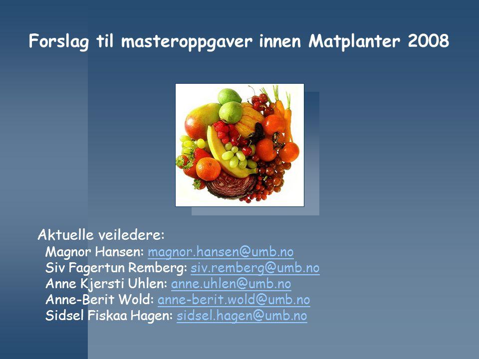 Forslag til masteroppgaver innen Matplanter 2008 Aktuelle veiledere: Magnor Hansen: magnor.hansen@umb.nomagnor.hansen@umb.no Siv Fagertun Remberg: siv