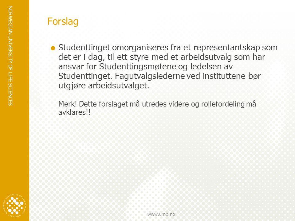 NORWEGIAN UNIVERSITY OF LIFE SCIENCES www.umb.no Forslag  Studenttinget omorganiseres fra et representantskap som det er i dag, til ett styre med et arbeidsutvalg som har ansvar for Studenttingsmøtene og ledelsen av Studenttinget.