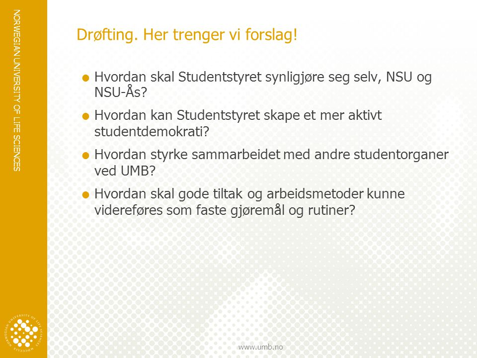 NORWEGIAN UNIVERSITY OF LIFE SCIENCES www.umb.no Drøfting.