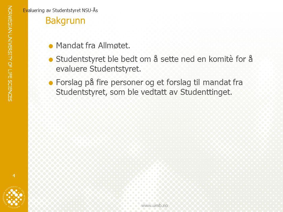 NORWEGIAN UNIVERSITY OF LIFE SCIENCES www.umb.no Evaluering av Studentstyret NSU-Ås 4 Bakgrunn  Mandat fra Allmøtet.
