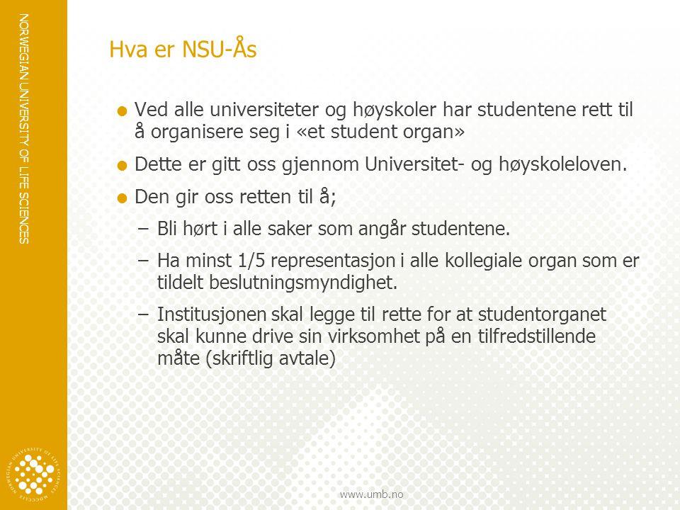 NORWEGIAN UNIVERSITY OF LIFE SCIENCES www.umb.no Hva er NSU-Ås  Ved alle universiteter og høyskoler har studentene rett til å organisere seg i «et student organ»  Dette er gitt oss gjennom Universitet- og høyskoleloven.