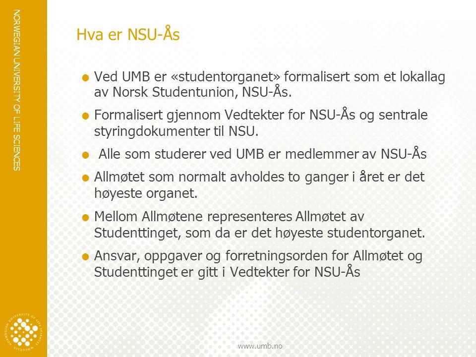 NORWEGIAN UNIVERSITY OF LIFE SCIENCES www.umb.no Hva er NSU-Ås  Studentstyret derimot skal ikke virke som det høyeste studentorgan i absens av Allmøtet og/eller Studenttinget.