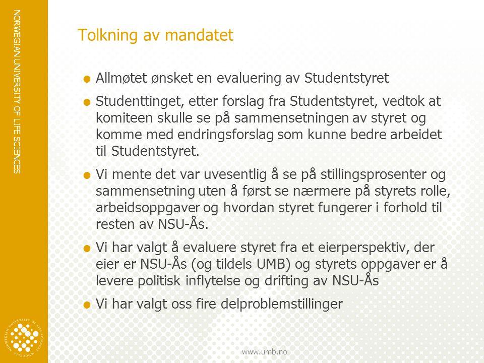 NORWEGIAN UNIVERSITY OF LIFE SCIENCES www.umb.no Tolkning av mandatet.