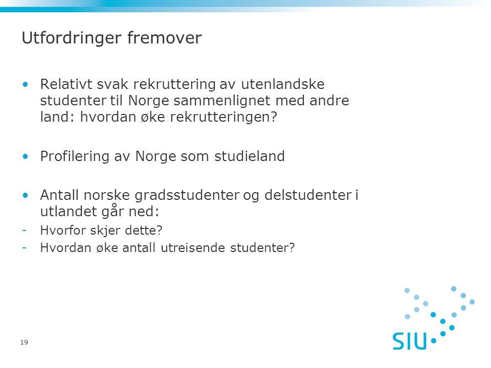 19 Utfordringer fremover Relativt svak rekruttering av utenlandske studenter til Norge sammenlignet med andre land: hvordan øke rekrutteringen.