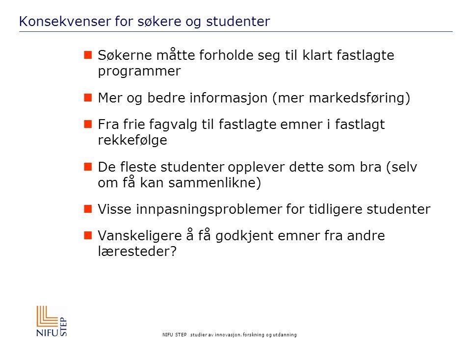 NIFU STEP studier av innovasjon, forskning og utdanning Lærernes vurderinger: Klart mer tid enn tidligere UniversitetHøyskoleTotalt Skriftlig tilbakemelding til studentene 687771 (682) Veiledning607966 (643) Eksamensarbeid645361 (591) Seminarundervisning472440 (364) Forelesninger161014 (134) På hvilke områder har undervisningen endret seg?