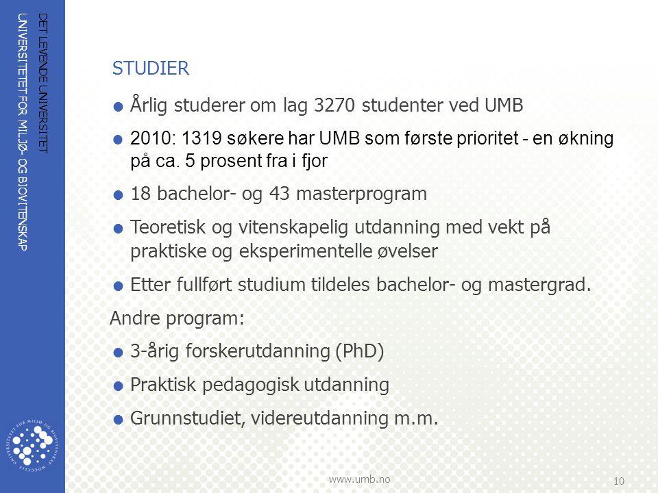 UNIVERSITETET FOR MILJØ- OG BIOVITENSKAP www.umb.no 10 DET LEVENDE UNIVERSITET STUDIER  Årlig studerer om lag 3270 studenter ved UMB  2010: 1319 søk