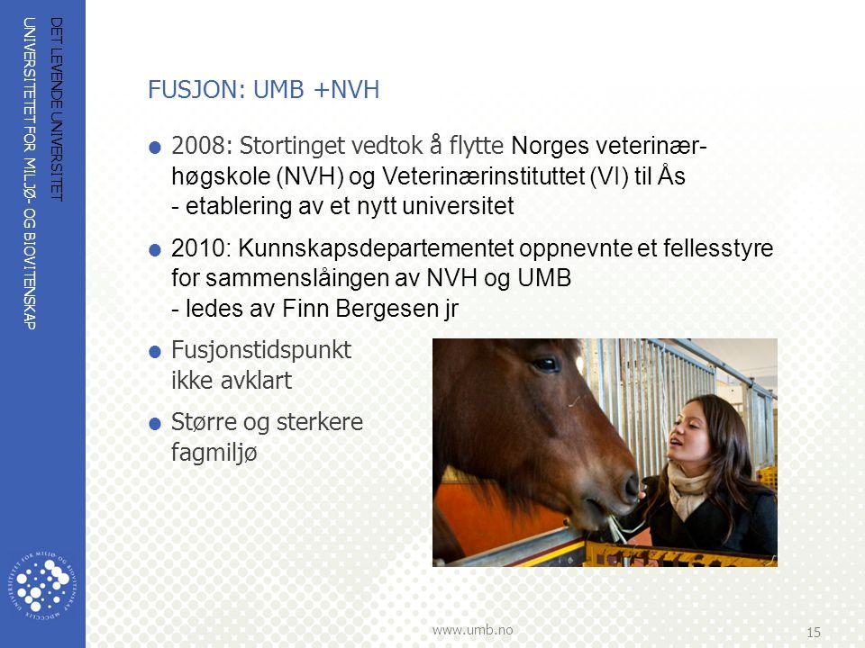 UNIVERSITETET FOR MILJØ- OG BIOVITENSKAP www.umb.no 15 DET LEVENDE UNIVERSITET FUSJON: UMB +NVH  2008: Stortinget vedtok å flytte Norges veterinær- h