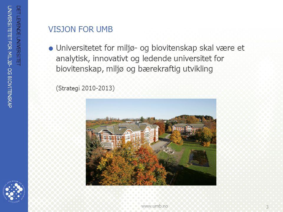 UNIVERSITETET FOR MILJØ- OG BIOVITENSKAP www.umb.no 3 DET LEVENDE UNIVERSITET VISJON FOR UMB  Universitetet for miljø- og biovitenskap skal være et a