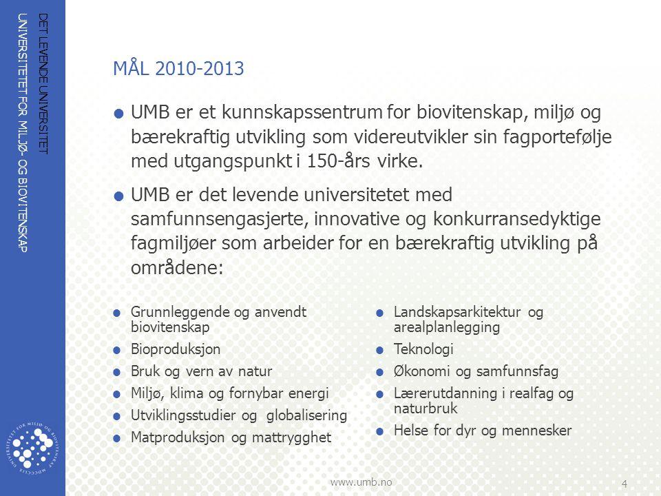 UNIVERSITETET FOR MILJØ- OG BIOVITENSKAP www.umb.no 4 DET LEVENDE UNIVERSITET MÅL 2010-2013  UMB er et kunnskapssentrum for biovitenskap, miljø og bæ