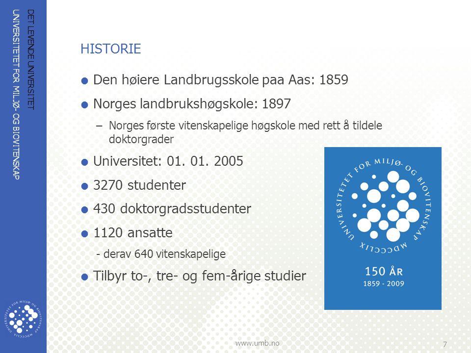 UNIVERSITETET FOR MILJØ- OG BIOVITENSKAP www.umb.no 7 DET LEVENDE UNIVERSITET HISTORIE  Den høiere Landbrugsskole paa Aas: 1859  Norges landbrukshøg