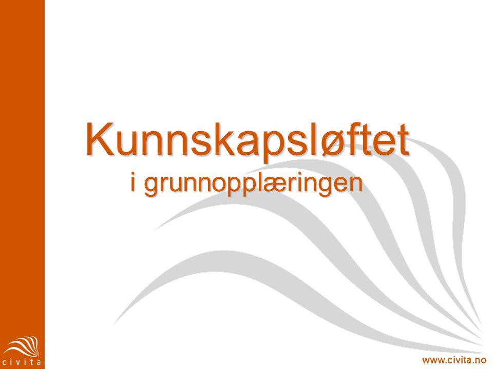 www.civita.no Norge: Kvalitetsreformen Studiereform Institusjonsreform -> basert på Mjøs-utvalget og nasjonale kvalitetsvurderinger Norges oppfølging av Bologna- prosessen