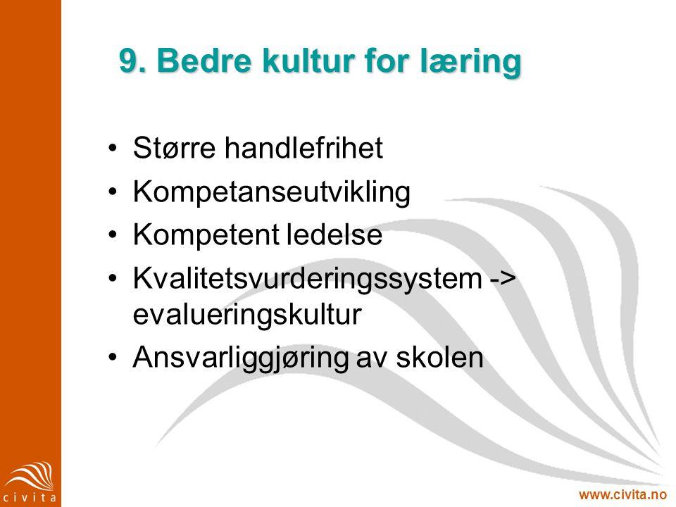 www.civita.no 9. Bedre kultur for læring Større handlefrihet Kompetanseutvikling Kompetent ledelse Kvalitetsvurderingssystem -> evalueringskultur Ansv