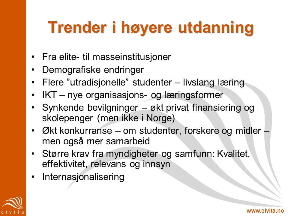 """www.civita.no Trender i høyere utdanning Fra elite- til masseinstitusjoner Demografiske endringer Flere """"utradisjonelle"""" studenter – livslang læring I"""