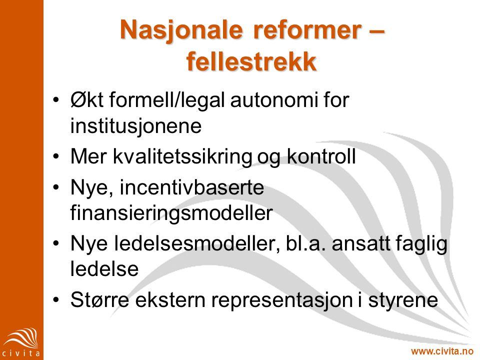 www.civita.no Nasjonale reformer – fellestrekk Økt formell/legal autonomi for institusjonene Mer kvalitetssikring og kontroll Nye, incentivbaserte fin