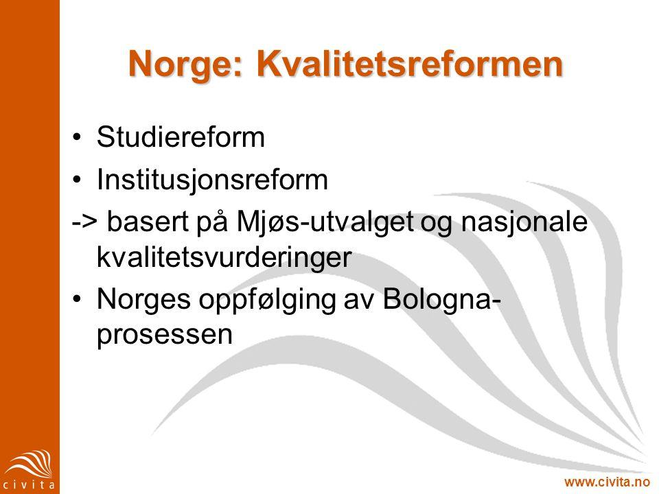 www.civita.no Norge: Kvalitetsreformen Studiereform Institusjonsreform -> basert på Mjøs-utvalget og nasjonale kvalitetsvurderinger Norges oppfølging