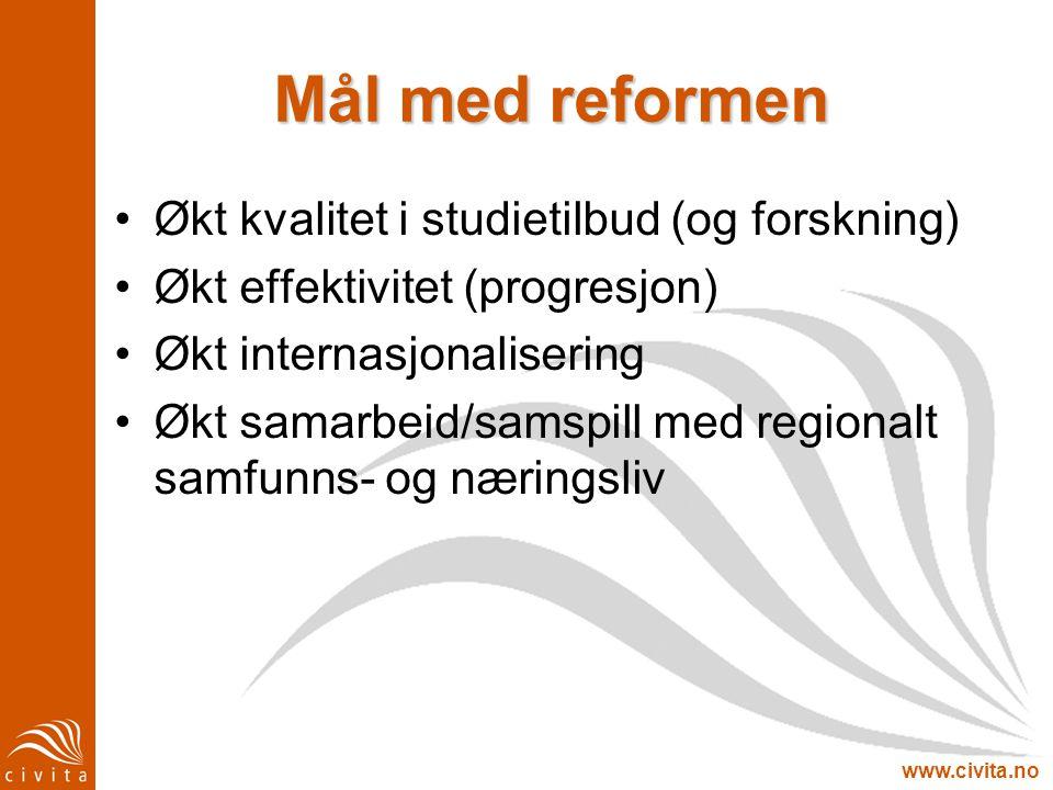 www.civita.no Mål med reformen Økt kvalitet i studietilbud (og forskning) Økt effektivitet (progresjon) Økt internasjonalisering Økt samarbeid/samspil