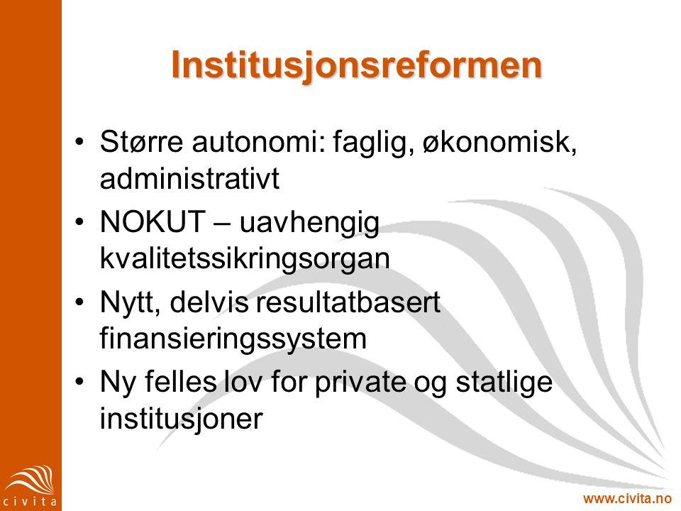www.civita.no Institusjonsreformen Større autonomi: faglig, økonomisk, administrativt NOKUT – uavhengig kvalitetssikringsorgan Nytt, delvis resultatba
