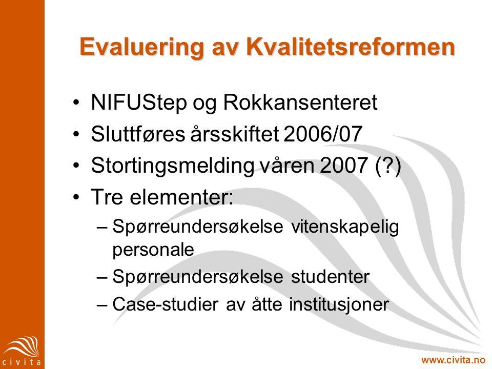 www.civita.no Evaluering av Kvalitetsreformen NIFUStep og Rokkansenteret Sluttføres årsskiftet 2006/07 Stortingsmelding våren 2007 (?) Tre elementer: