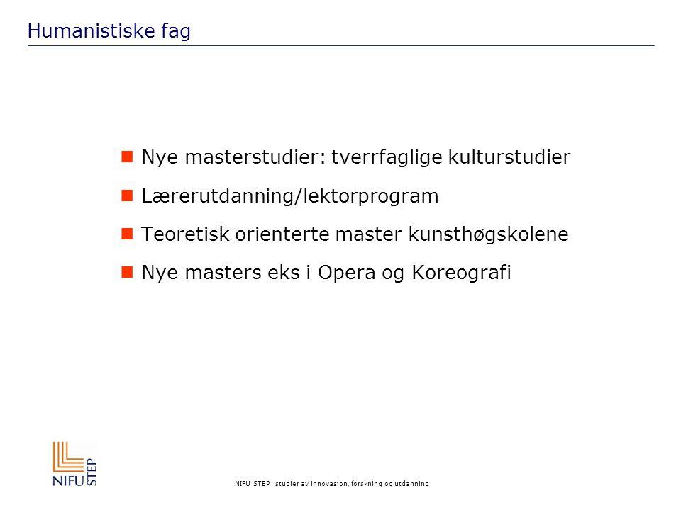 NIFU STEP studier av innovasjon, forskning og utdanning Humanistiske fag Nye masterstudier: tverrfaglige kulturstudier Lærerutdanning/lektorprogram Te