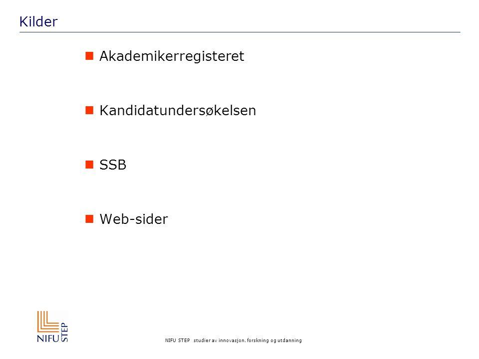 NIFU STEP studier av innovasjon, forskning og utdanning Kilder Akademikerregisteret Kandidatundersøkelsen SSB Web-sider