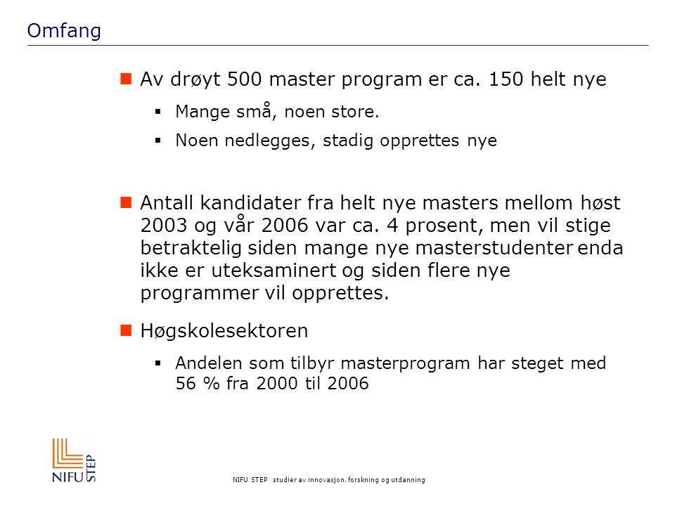 NIFU STEP studier av innovasjon, forskning og utdanning Omfang Av drøyt 500 master program er ca. 150 helt nye  Mange små, noen store.  Noen nedlegg