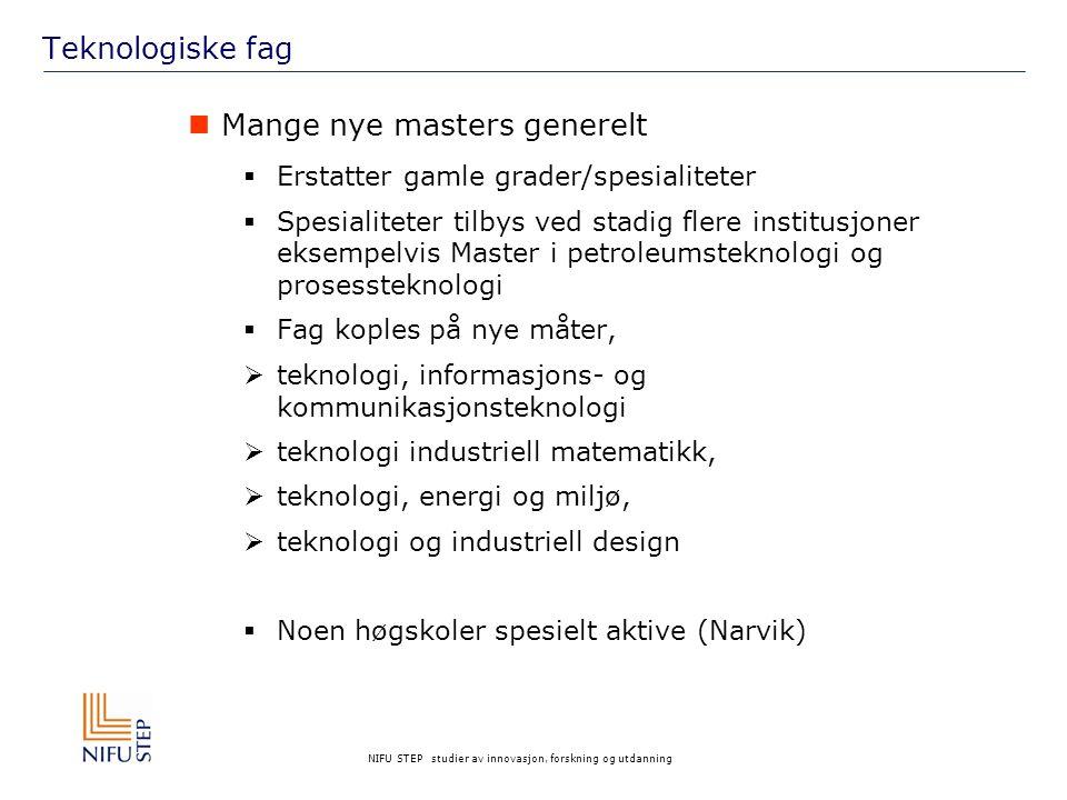 NIFU STEP studier av innovasjon, forskning og utdanning Teknologiske fag Mange nye masters generelt  Erstatter gamle grader/spesialiteter  Spesialit