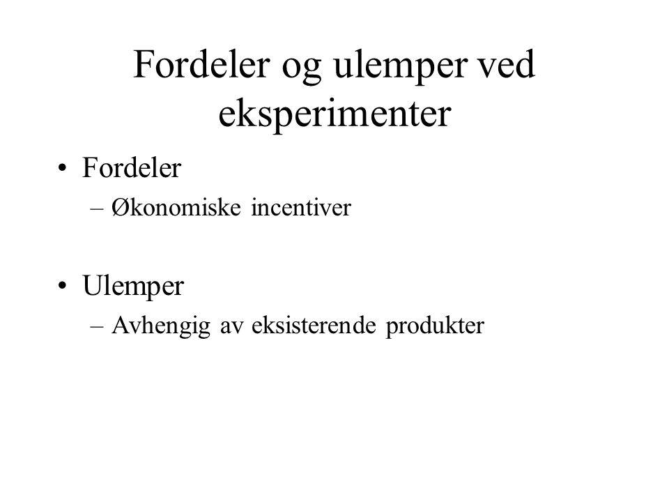 Fordeler og ulemper ved eksperimenter Fordeler –Økonomiske incentiver Ulemper –Avhengig av eksisterende produkter