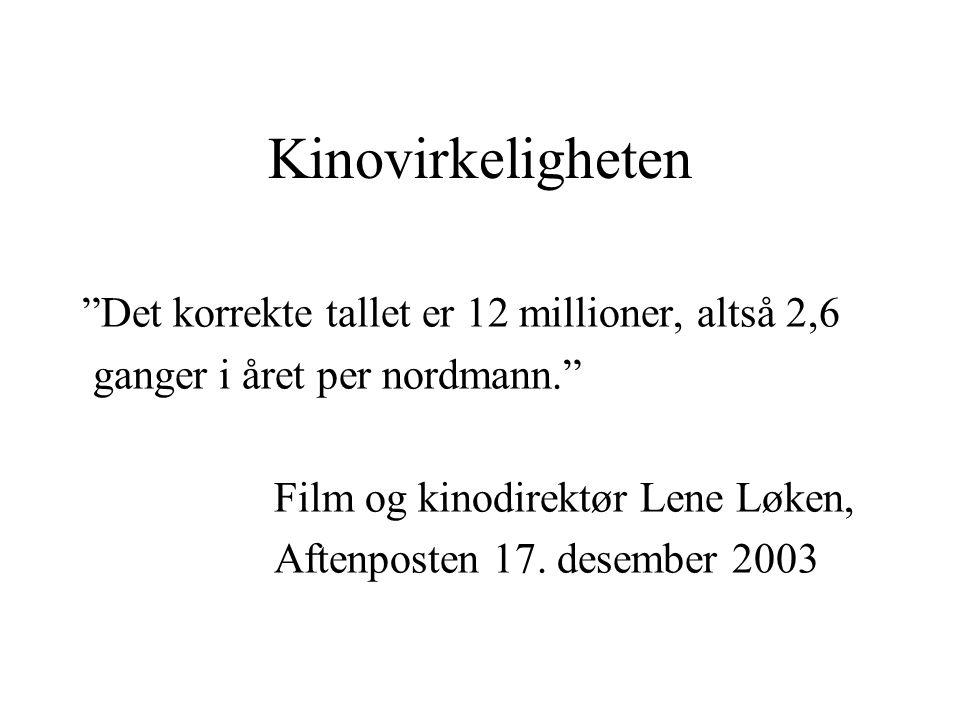 Kinovirkeligheten Det korrekte tallet er 12 millioner, altså 2,6 ganger i året per nordmann. Film og kinodirektør Lene Løken, Aftenposten 17.
