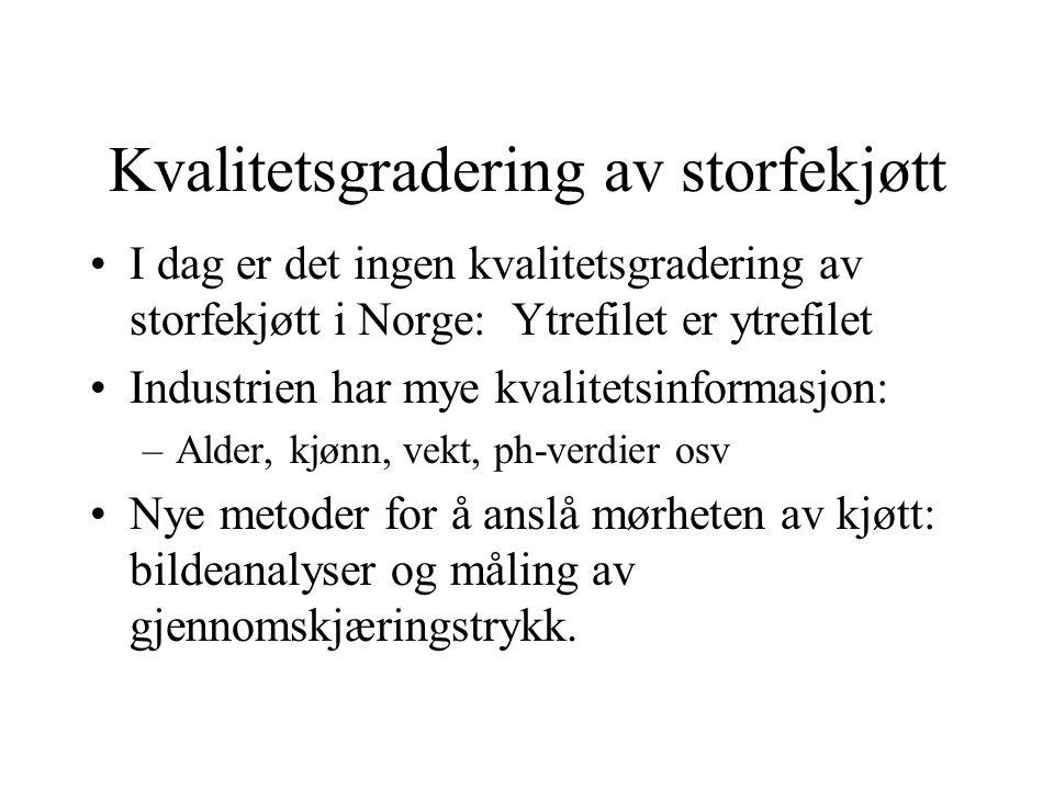 Kvalitetsgradering av storfekjøtt I dag er det ingen kvalitetsgradering av storfekjøtt i Norge: Ytrefilet er ytrefilet Industrien har mye kvalitetsinformasjon: –Alder, kjønn, vekt, ph-verdier osv Nye metoder for å anslå mørheten av kjøtt: bildeanalyser og måling av gjennomskjæringstrykk.