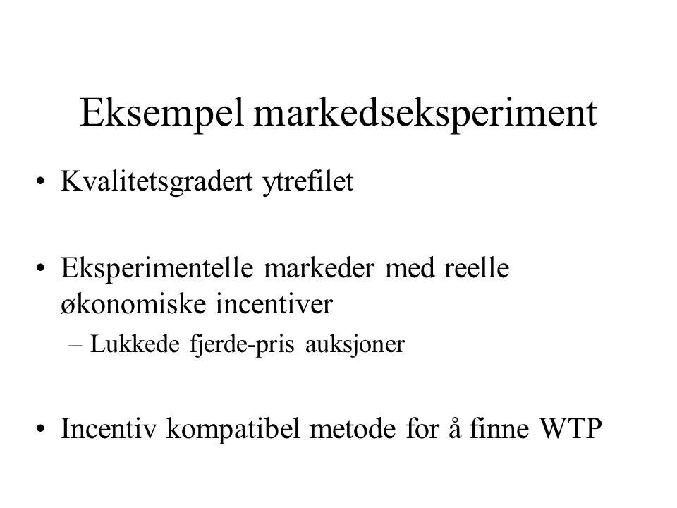 Eksempel markedseksperiment Kvalitetsgradert ytrefilet Eksperimentelle markeder med reelle økonomiske incentiver –Lukkede fjerde-pris auksjoner Incentiv kompatibel metode for å finne WTP