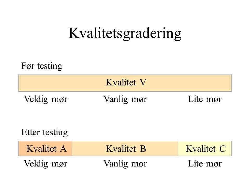 Kvalitetsgradering Før testing Kvalitet V Veldig mørVanlig mørLite mør Etter testing Kvalitet A Kvalitet B Kvalitet C Veldig mørVanlig mørLite mør