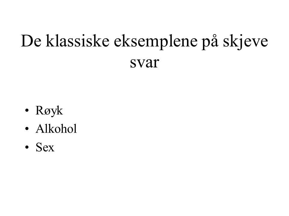 De klassiske eksemplene på skjeve svar Røyk Alkohol Sex