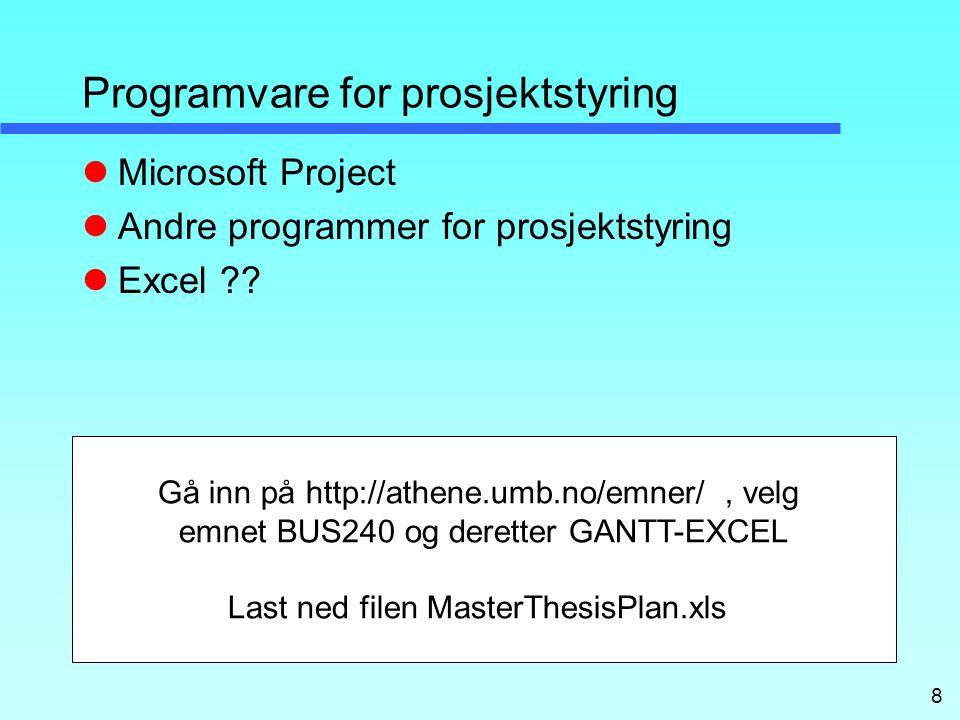 8 Programvare for prosjektstyring Microsoft Project Andre programmer for prosjektstyring Excel ?.