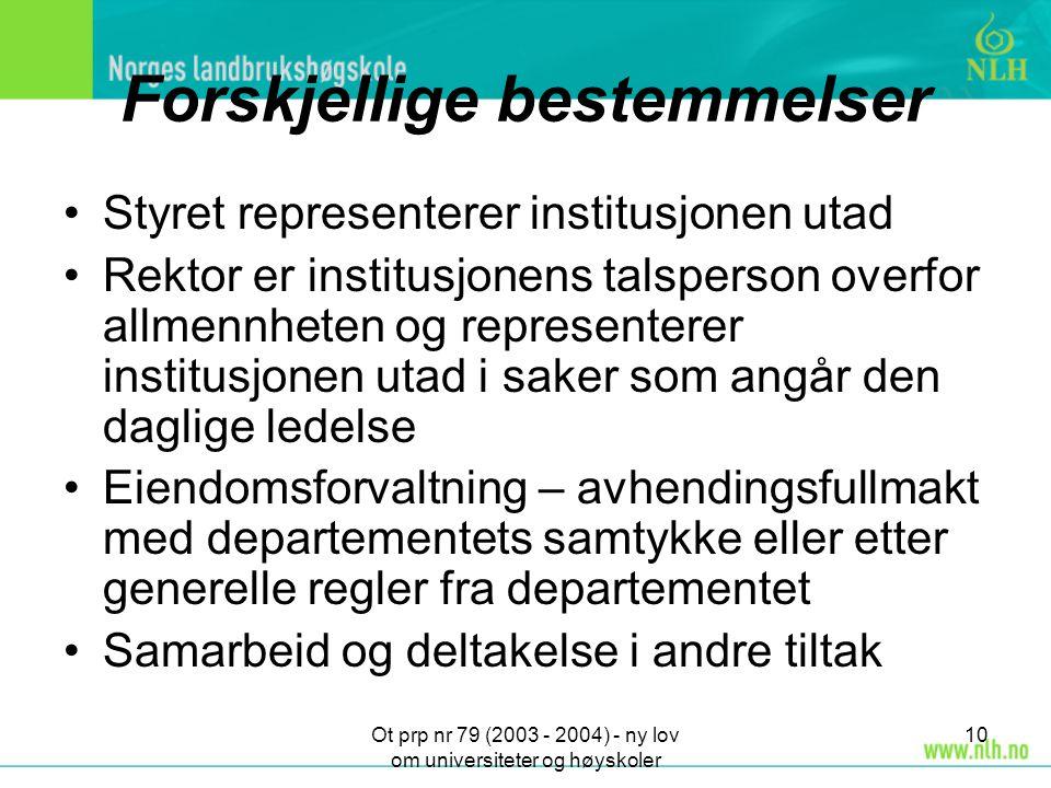 Ot prp nr 79 (2003 - 2004) - ny lov om universiteter og høyskoler 10 Forskjellige bestemmelser Styret representerer institusjonen utad Rektor er insti