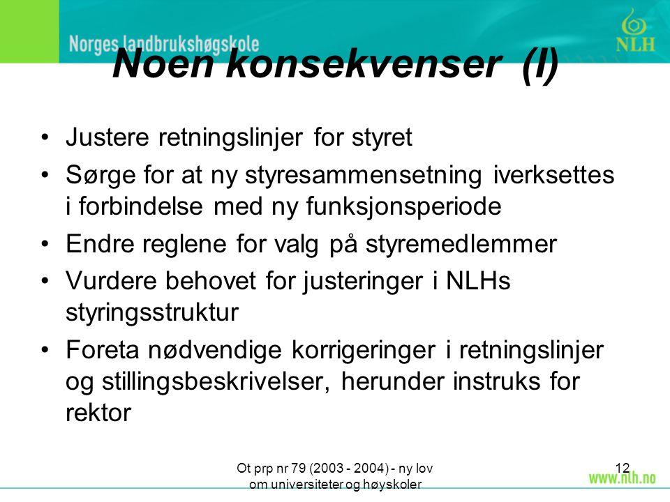 Ot prp nr 79 (2003 - 2004) - ny lov om universiteter og høyskoler 12 Noen konsekvenser (I) Justere retningslinjer for styret Sørge for at ny styresamm