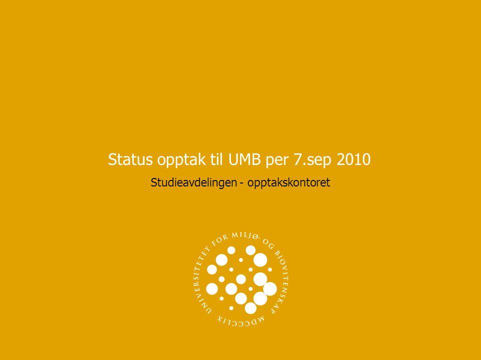 Status opptak til UMB per 7.sep 2010 Studieavdelingen - opptakskontoret