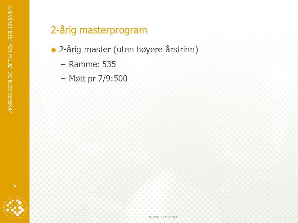 UNIVERSITETET FOR MILJØ- OG BIOVITENSKAP www.umb.no 2-årig masterprogram  2-årig master (uten høyere årstrinn) –Ramme: 535 –Møtt pr 7/9:500 6